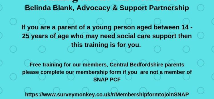Transition into Adulthood – Belinda Blank, Advocacy & Support Partnership – 21st January 2020, 9.45 14.45 Booking essential