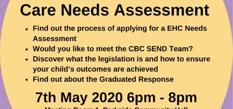 SNAP PCF * EDUCATION & HEALTH NEEDS ASSESSMENT ~ LEARN THE PROCESS AND ABOUT GRADUATED RESPONSE, MEET THE CBC SEND TEAM AND DISCOVER THE LEGISLATION~7TH MAY 6-8PM AMPTHILL MK45 2HX
